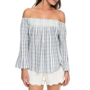 Roxy Blue and White Peasant Top